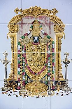 Vishnu, Sri Maha Mariamman temple, Kuala Lumpur, Malaysia, Southeast Asia, Asia