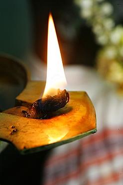 Oil lamp, Sri Maha Mariamman temple, Penang, Malaysia, Southeast Asia, Asia