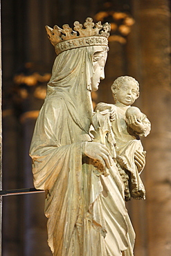 A 14th century Virgin and Child statue in Notre Dame cathedral, Paris, France, Europe