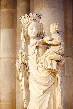 A 14th century Virgin and Child statue in Notre-Dame de Paris cathedral, Paris, France, Europe