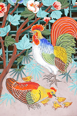 Rooster, hen and chicks, Seoul, South Korea, Asia