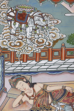 Siddartha Gautama's mother dreaming of a white elephant presenting her with a lotus flower, before the Buddha's birth, depited in the Life of Buddha, Seoul, South Korea, Asia
