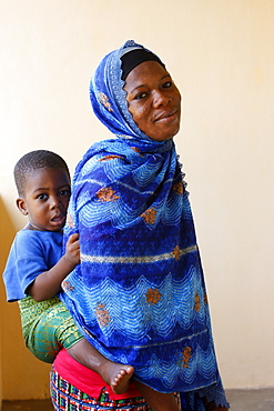 Muslim mother and son, Lome, Togo, West Africa, Africa