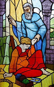 Stained glass of Elisha's miracle, Vienna, Austria