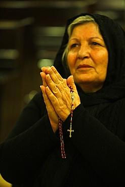 Chaldean Christian in Misdar Latin church, Amman, Jordan, Middle East