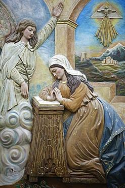 Annunciation sculpture in St. Mary of Nazareth church, Sweifieh, Amman, Jordan, Middle East