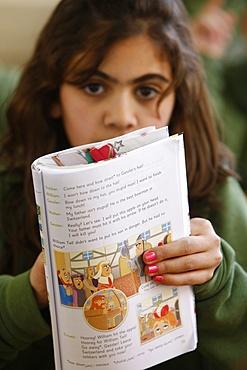 Palestinian schoolgirl in St. Joseph's seminary (secondary school), Nazareth, Galilee, Israel, Middle East