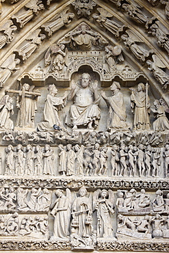 Last Judgment tympanum, Central Gate, Amiens Cathedral, UNESCO World Heritage Site, Amiens, Somme, France, Europe