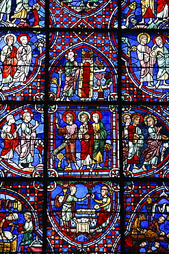 Stained glass, Notre-Dame de Chartres Cathedral, UNESCO World Heritage Site, Chartres, Eure-et-Loir, France, Europe