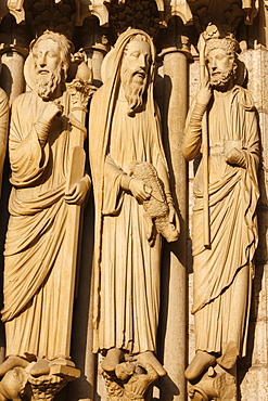 North gate sculpture of Moses, Aaron, Samuel or King David, Notre-Dame de Chartres Cathedral, UNESCO World Heritage Site, Chartres, Eure-et-Loir, France, Europe