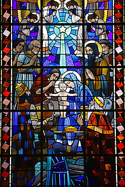 Stained glass of Nativity in Notre Dame du Rosaire Catholic church, Saint-Ouen, Seine-Saint-Denis, France, Europe