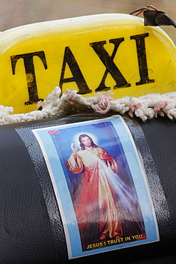Picture of Jesus in a taxi, Togoville, Togo, West Africa, Africa