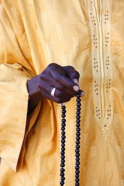 Muslim with prayer beads, Abene, Casamance, Senegal, West Africa, Africa