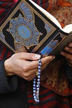 Woman reading Koran, Jordan, Middle East