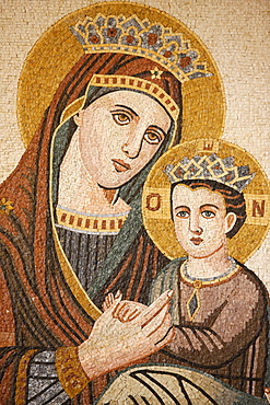 Virgin and Child mosaic in St. George's Orthodox church, Madaba, Jordan, Middle East