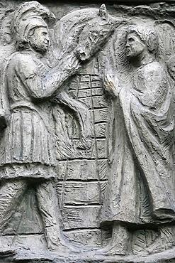 Sculpture depicting a Miracle on the Notre Dame door, Saint-Pierre de Montmartre church, Paris, France, Europe