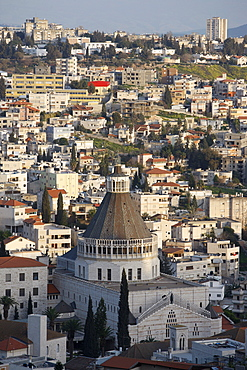 Basilica and city, Nazareth, Israel, Middle East