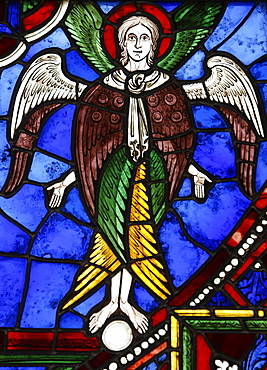 An angel in stained glass, International Stained Glass Centre, Chartres, Eure-et-Loir, France, Europe