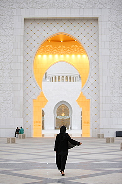 Main entrance, Sheikh Zayed Grand Mosque, Abu Dhabi, United Arab Emirates, Middle East