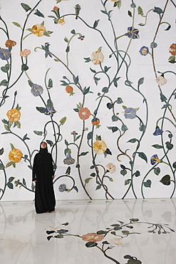 Thousands of semi-precious stones, inset in marble, in a flower pattern decorate the Sheikh Zayed Grand Mosque, Abu Dhabi, United Arab Emirates, Middle East