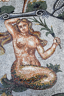 Astral sign of Virgo in mosaic in Galleria Umberto, Naples, Campania, Italy, Europe