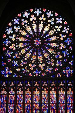 Rose window, Saint-Vincent cathedral, St. Malo, Ille-et-Vilaine, Brittany, France, Europe