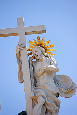 Christ and the cross, Resurrection, Melk Abbey, Melk, Lower Austria, Austria, Europe
