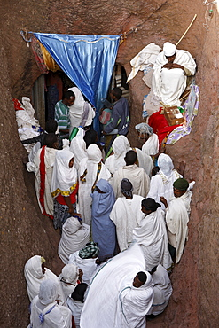 Pilgrims lining up to collect water from the Jordan River spring in Bieta Ghiorghis (St. George's House) church in Lalibela, Wollo, Ethiopia, Africa
