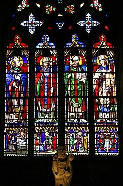 Stained glass of saints from Brittany, including St. Samson, Saint-Samson cathedral, Dol-de-Bretagne, Ille-et-Vilaine, Brittany, France, Europe