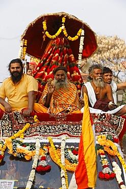 Sadhu procession during Haridwar Kumbh Mela, Haridwar, Uttarakhand, India, Asia