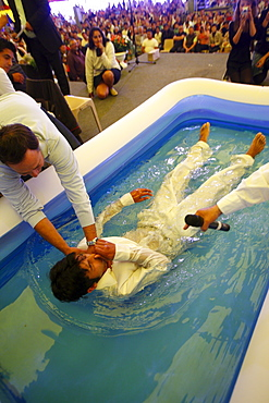Baptism, Gipsy Evangelical meeting, Chaumont-Semoutiers, Haute-Marne, France, Europe