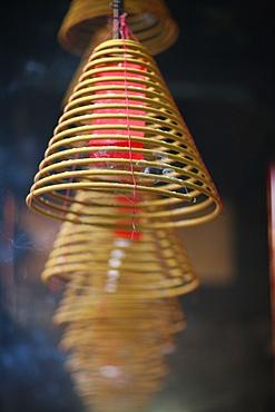 Incense coils, Hong Kung Temple, Macao, China, Asia