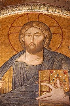 Jesus Pantocrator mosaic, Chora Church Museum, Istanbul, Turkey, Europe