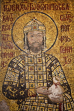 Mosaic of Emperor Ioannes I Comnenos holding a purse, symbolizing donation he made to the church, Hagia Sophia, Istanbul, Turkey, Europe