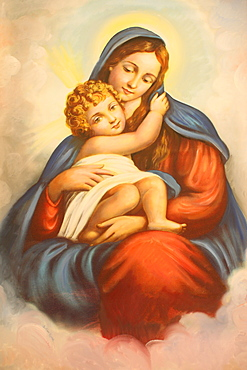 Virgin and Child picture in Maronite church, Lome, Togo, West Africa, Africa