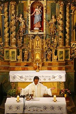 Catholic mass, Notre-Dame de la Gorge, Haute Savoie, France, Europe