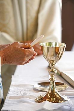 Eucharist celebration, Les Sauvages, Rhone, France, Europe