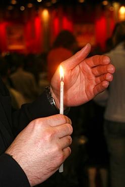 Prayer at Taize meeting, Geneva, Switzerland, Europe