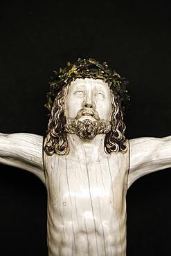 Detail of a Crucifixion sculpture in Notre-Dame de Paris cathedral Treasure Museum, Paris, France, Europe