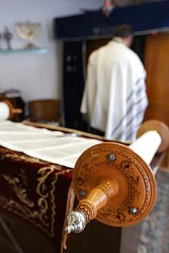 Jewish Torah scroll in a synagogue, Paris, France, Europe