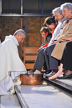 Washing feet, Maundy Thursday, Easter week celebration, Paris, France, Europe