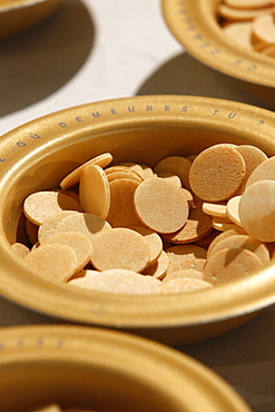 Host wafers in a Catholic church, Seine-Saint-Denis, France, Europe