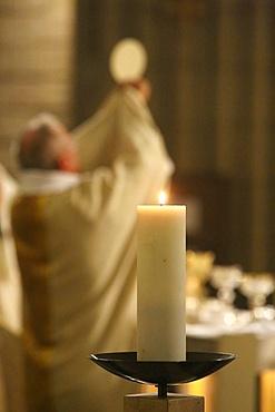 Celebration of the Eucharist, Church of Notre-Dame du Perpetuel Secours, Paris, France, Europe
