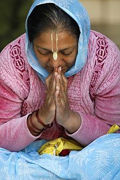 Hare Krishna devotee praying, Vrindavan, Uttar Pradesh, India, Asia