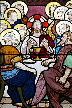 Stained glass depicting the Last Supper at Saint-HonorŽ d'Eylau church, Paris, Ile de France, France, Europe