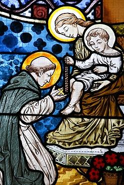 Stained glass depicting St. Dominic at Saint-Honore d'Eylau church, Paris, Ile de France, France, Europe