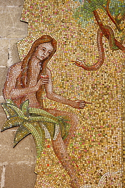 Mosaic of Eve and the serpent in Sacro Cuore di Gesu church, Gallipoli, Lecce, Apulia, Italy, Europe