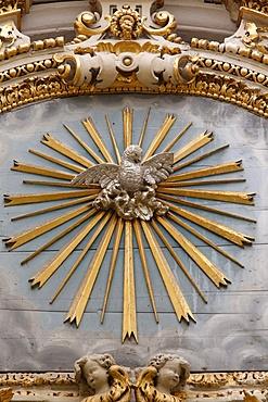 Sculpture of the Phoenix, symbol of Resurrection in Sant'Irene church, Lecce, Apulia, Italy, Europe