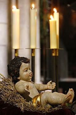 Christmas crib, Notre-Dame de Paris cathedral, Paris, France, Europe