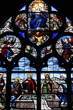 Stained glass window dating from 1619 of the Assumption of the Virgin, Bourges Cathedral, UNESCO World Heritage Site, Cher, Centre, France, Europe